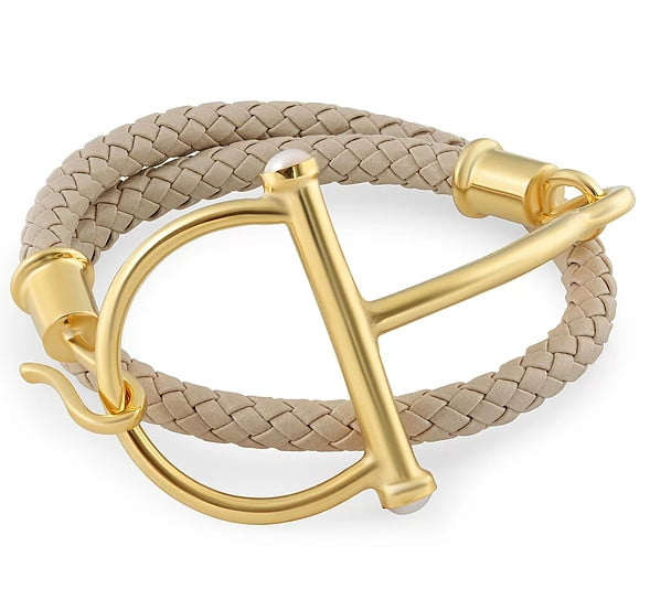 Picture of a brown and golf bracelet
