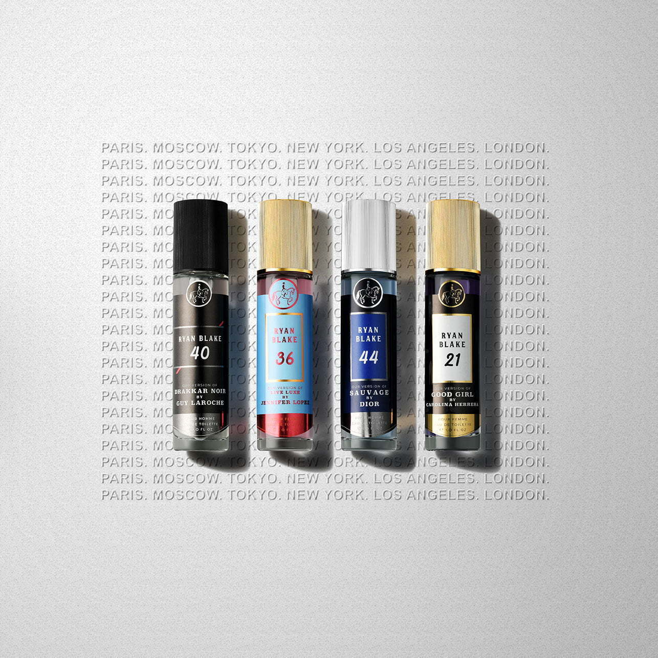 perfume image laying on top of a gray background with writing