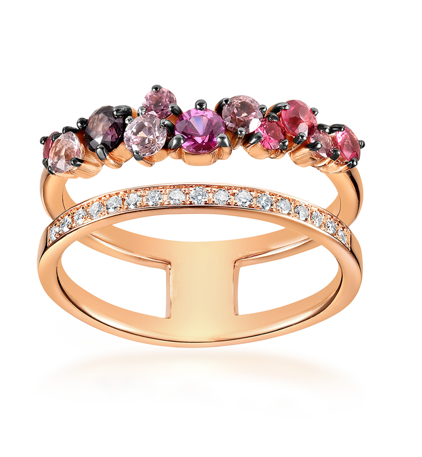 Double band gold diamond ring photography