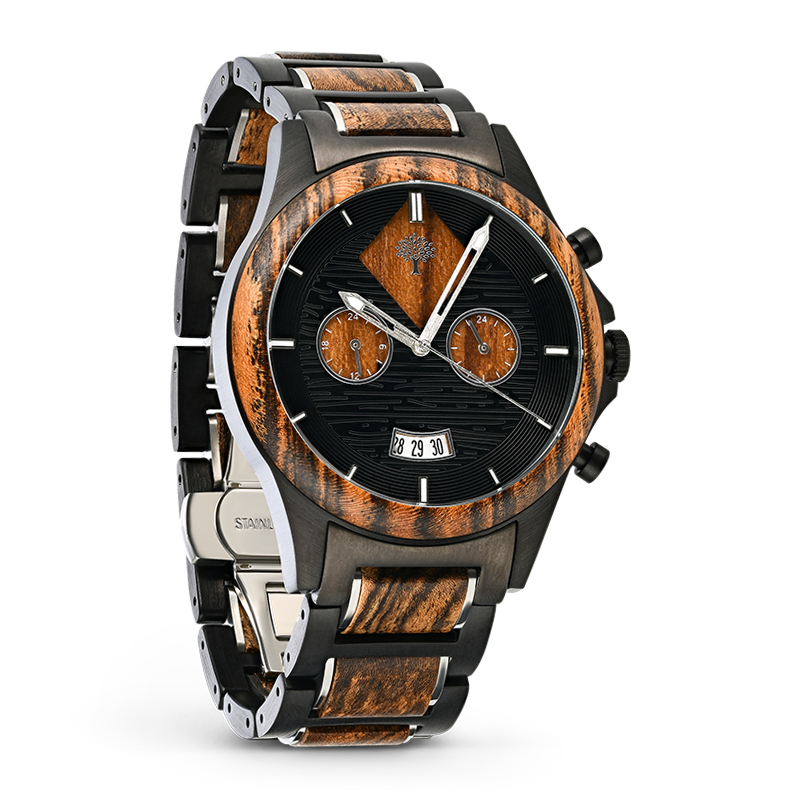 luxwood-watches with grey metal and wood photography
