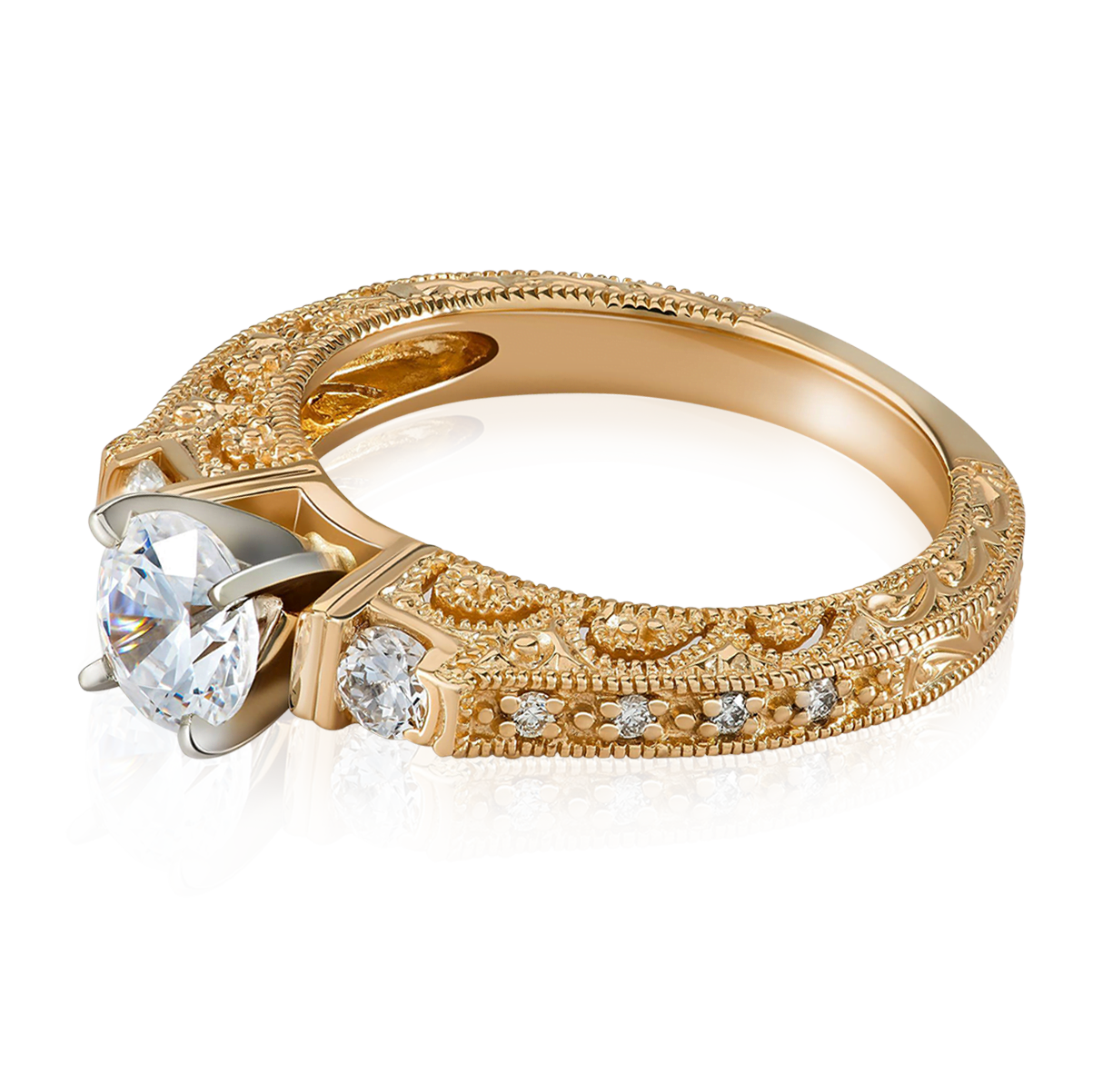 Beautiful intricate gold ring with center diamond photography
