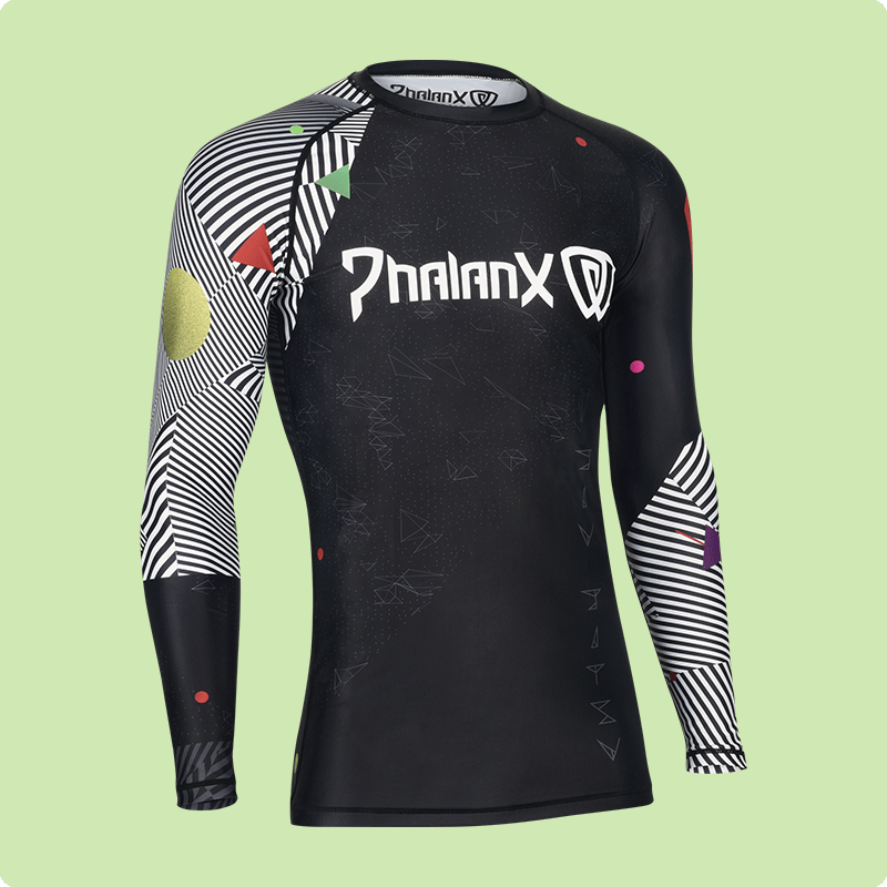 long sleeve tight black and patterned men's sport shirt apparel back view photography side-r