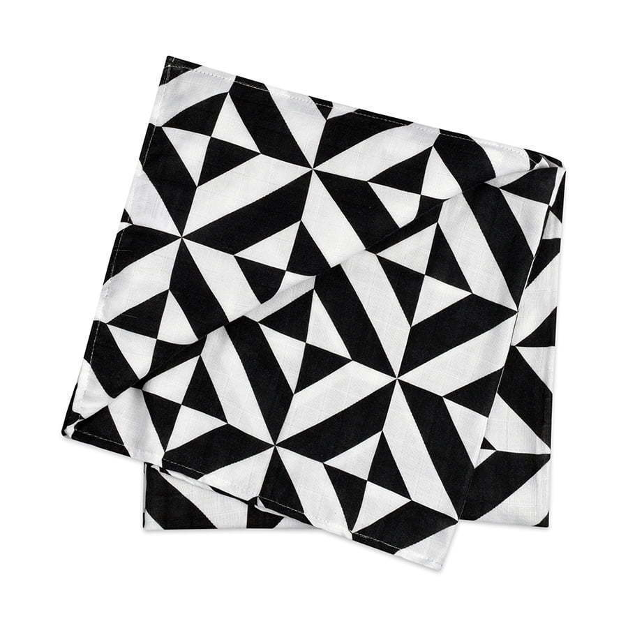 black and white patterned linen swaddle folded photography