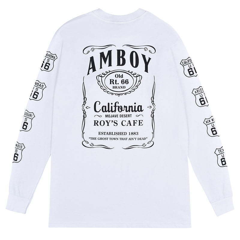 white long sleeve t-shirt with text lay flat photography