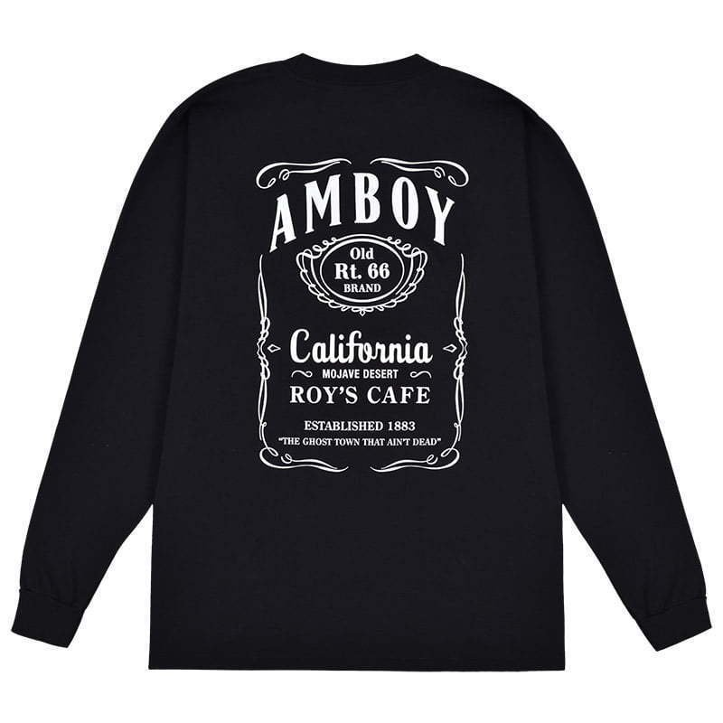 black long sleeve t-shirt with text lay flat photography