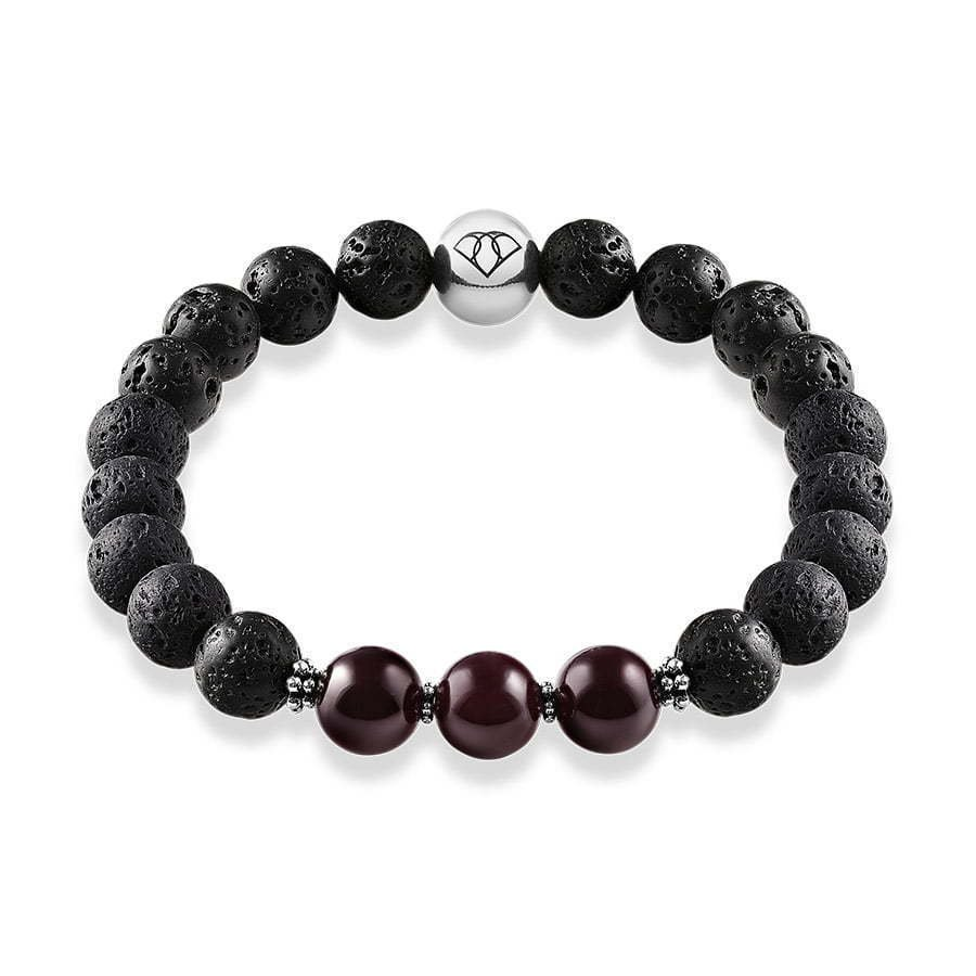 lava stone bracelet with dark purple stone beads in a circle photography