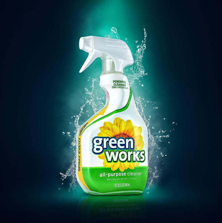 green works all purpose house cleaning spray with water splash custom photography