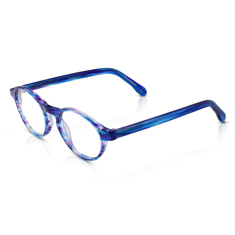 pair of blue circle lens plastic frame glasses