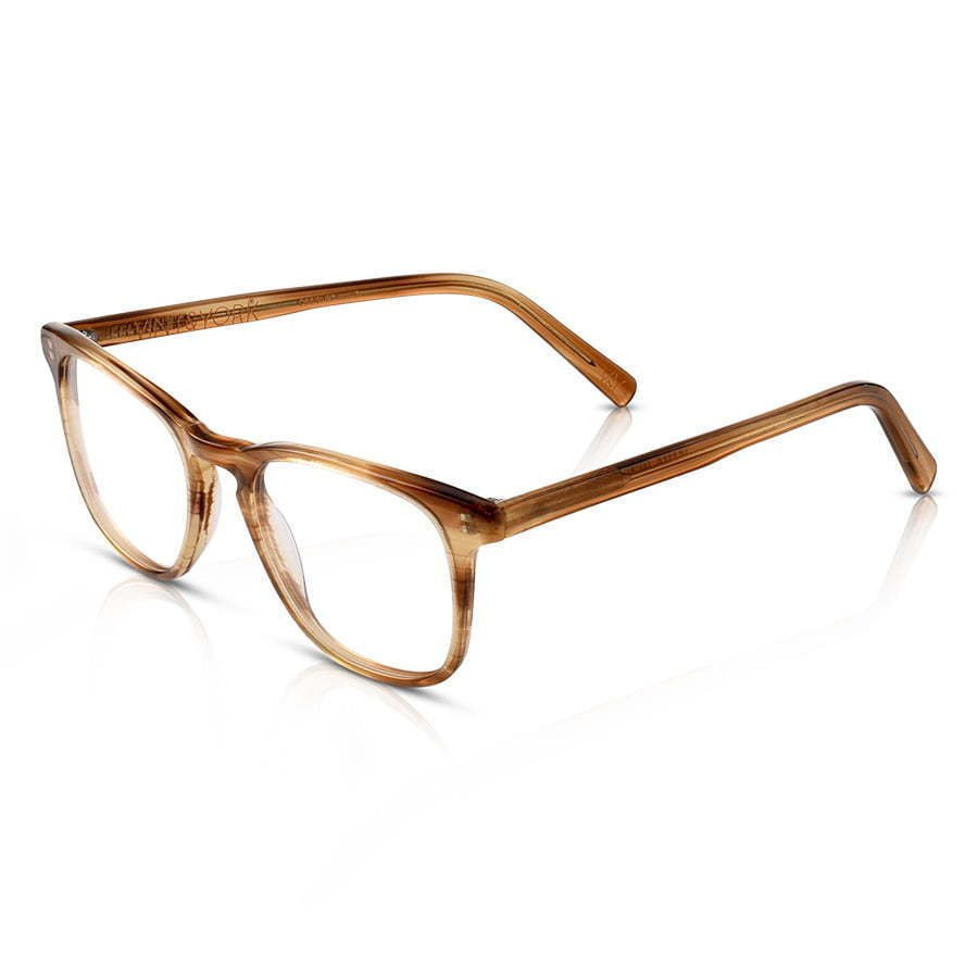 pair of brown plastic frame glasses