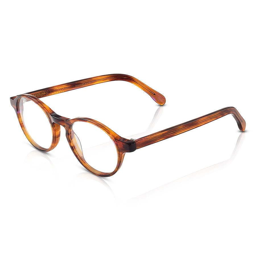 pair of brown circle lens plastic frame glasses