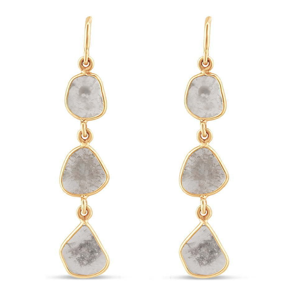 pair of three dangling white marble stone jewelry photography