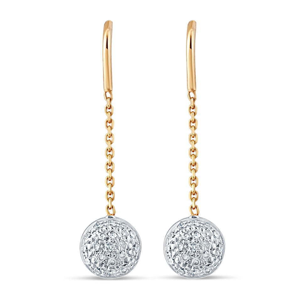 pair of gold chain dangling earrings with diamond stone circles jewelry photography