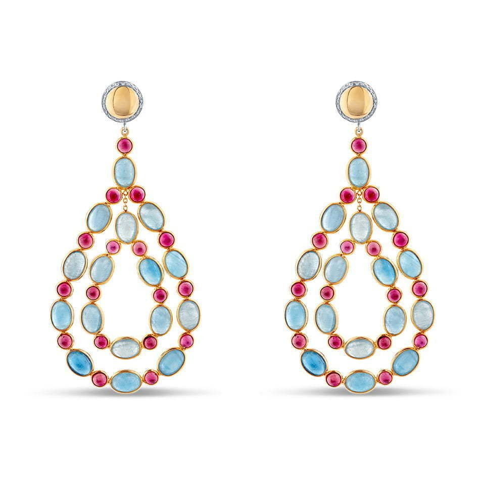 pair of stone dangling earrings red and blue photography