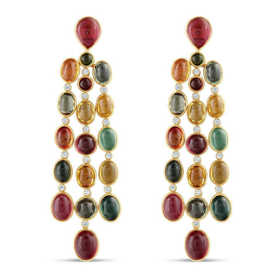 pair of dangling stone earrings multicolor jewelry photography