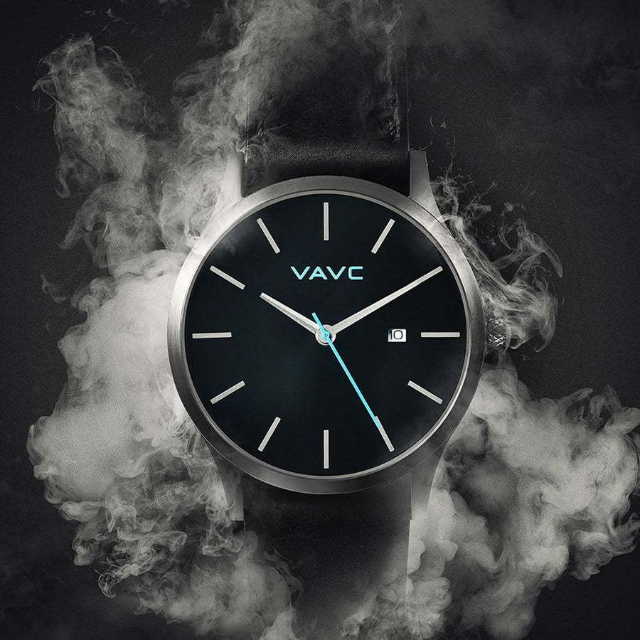 black face watch with white smoke front view photography
