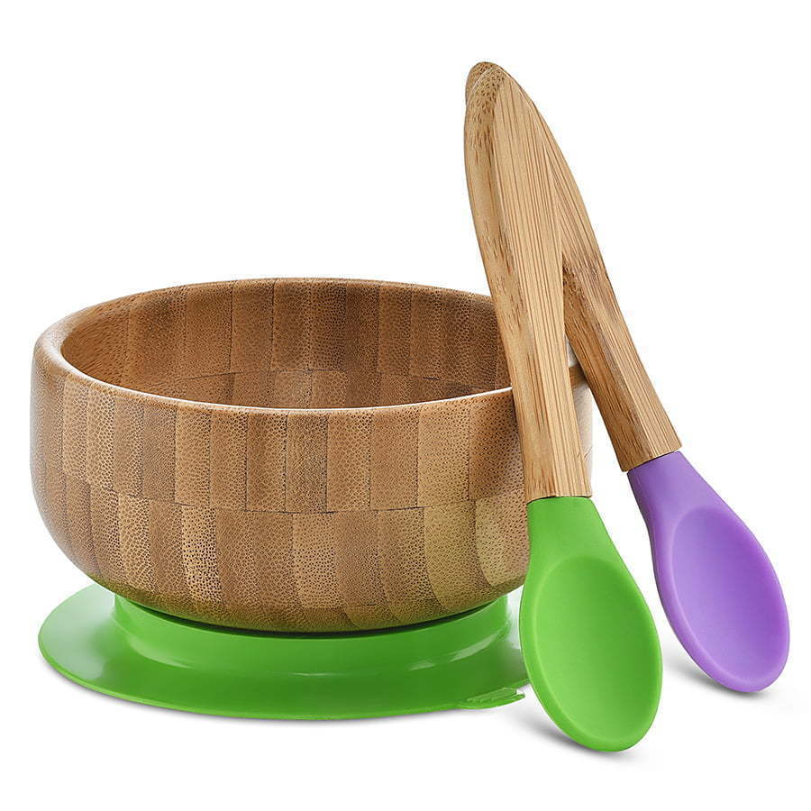 children's wood bamboo bowl and spoons purple and green plastic photography