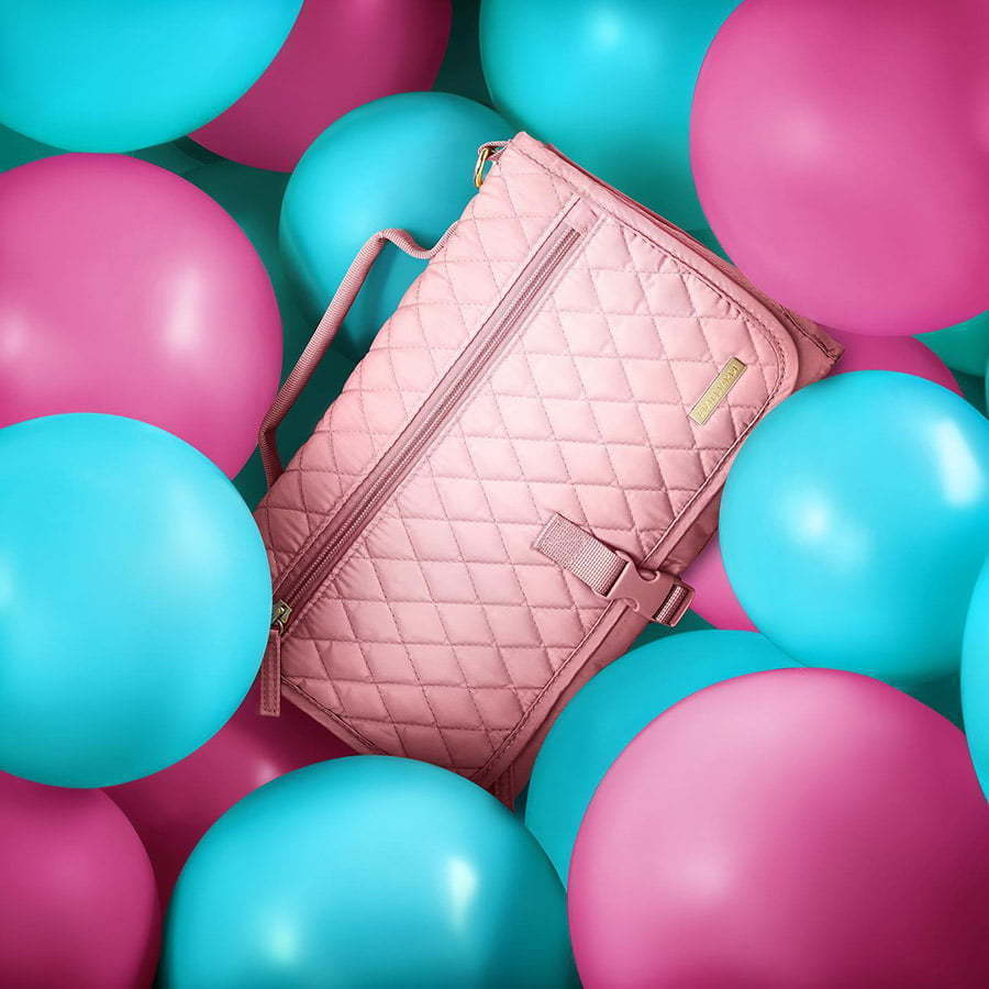 women's handbag in blue and pink balloons custom photography