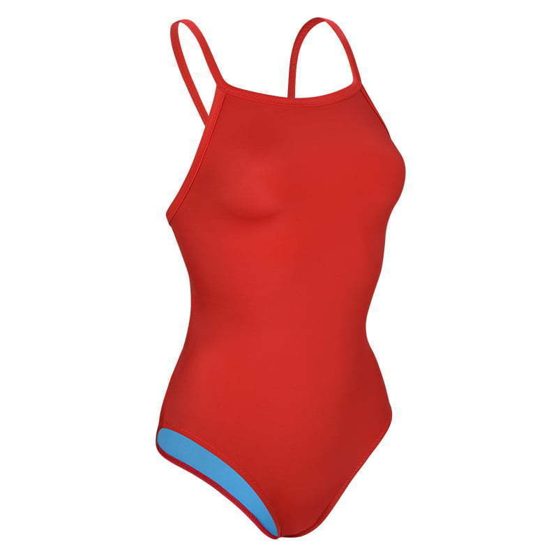910-Red-Polyester Thin Strap Lifeguard Swimsuit-Right Side 45 copy