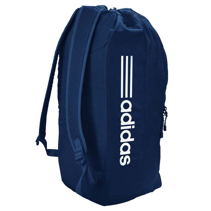navy blue and white stripe Adidas sports equipment soccer backpack back side view photography