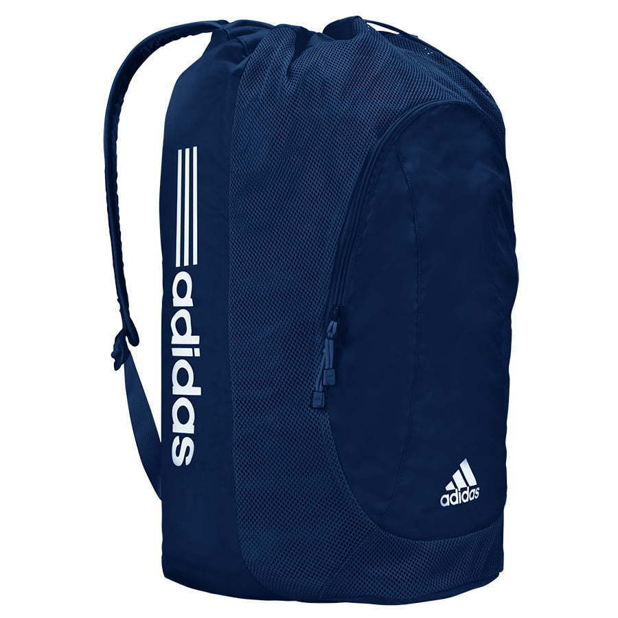 navy blue and white stripe Adidas sports equipment soccer backpack photography
