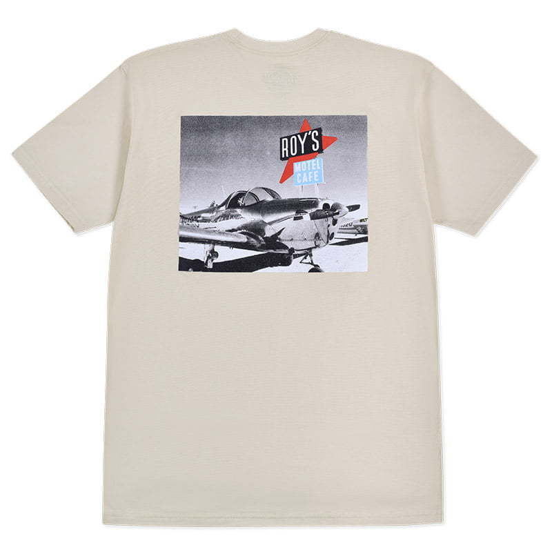 tan t-shirt with photo graphic lay flat