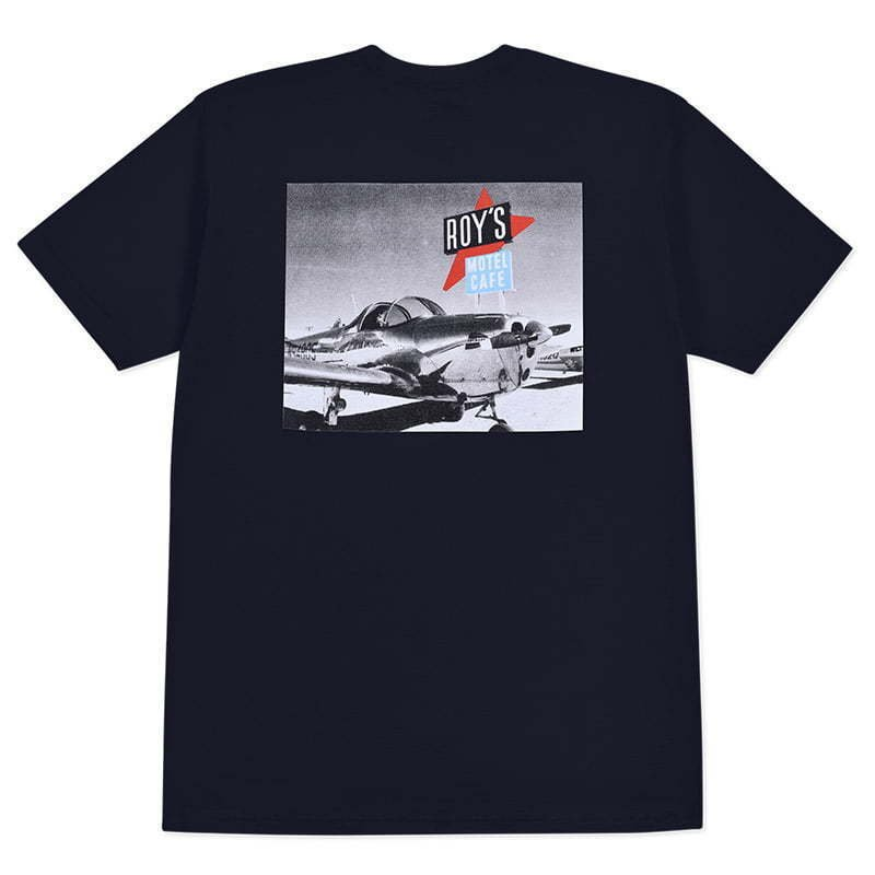 black t-shirt with photo graphic lay flat