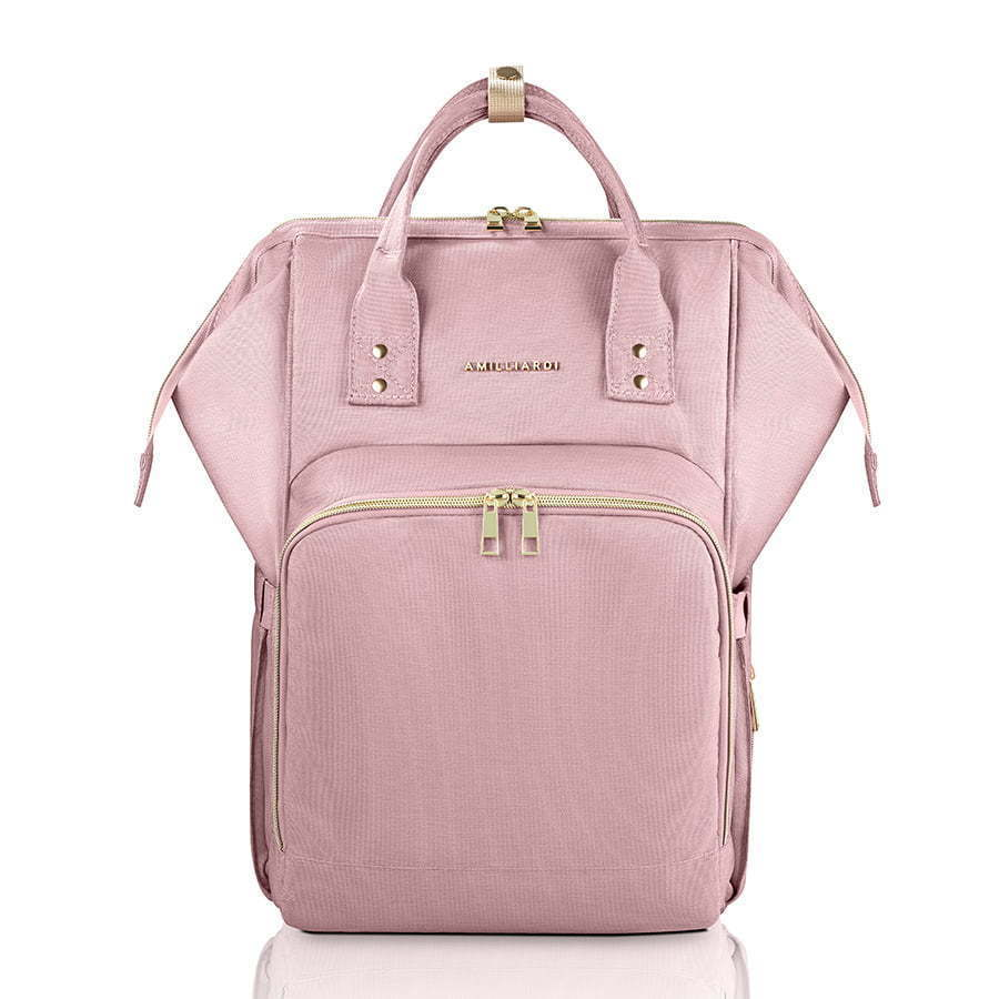 pink baby diaper bag front image photography