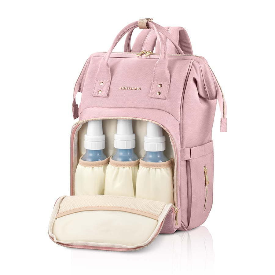 pink baby diaper bag open with bottles photography