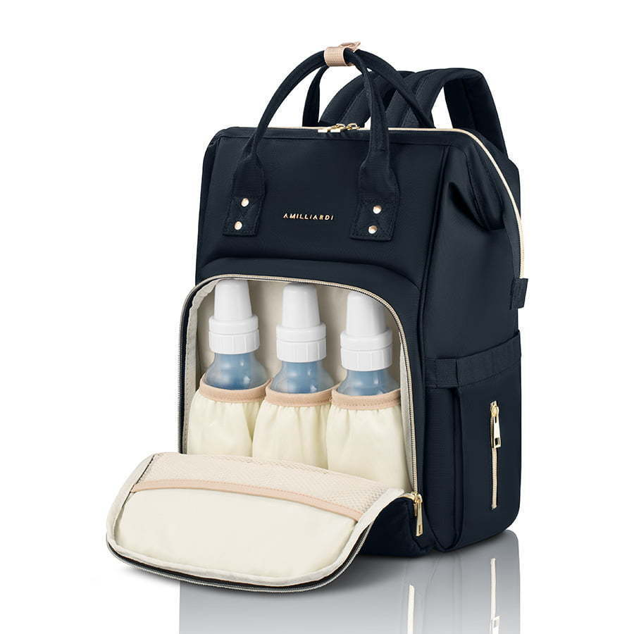 black baby diaper bag open with bottles photography