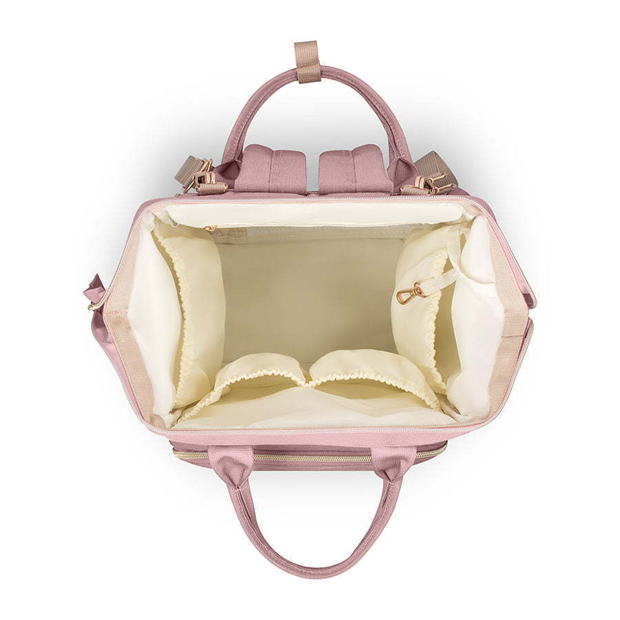 pink diaper baby bag top view open photography