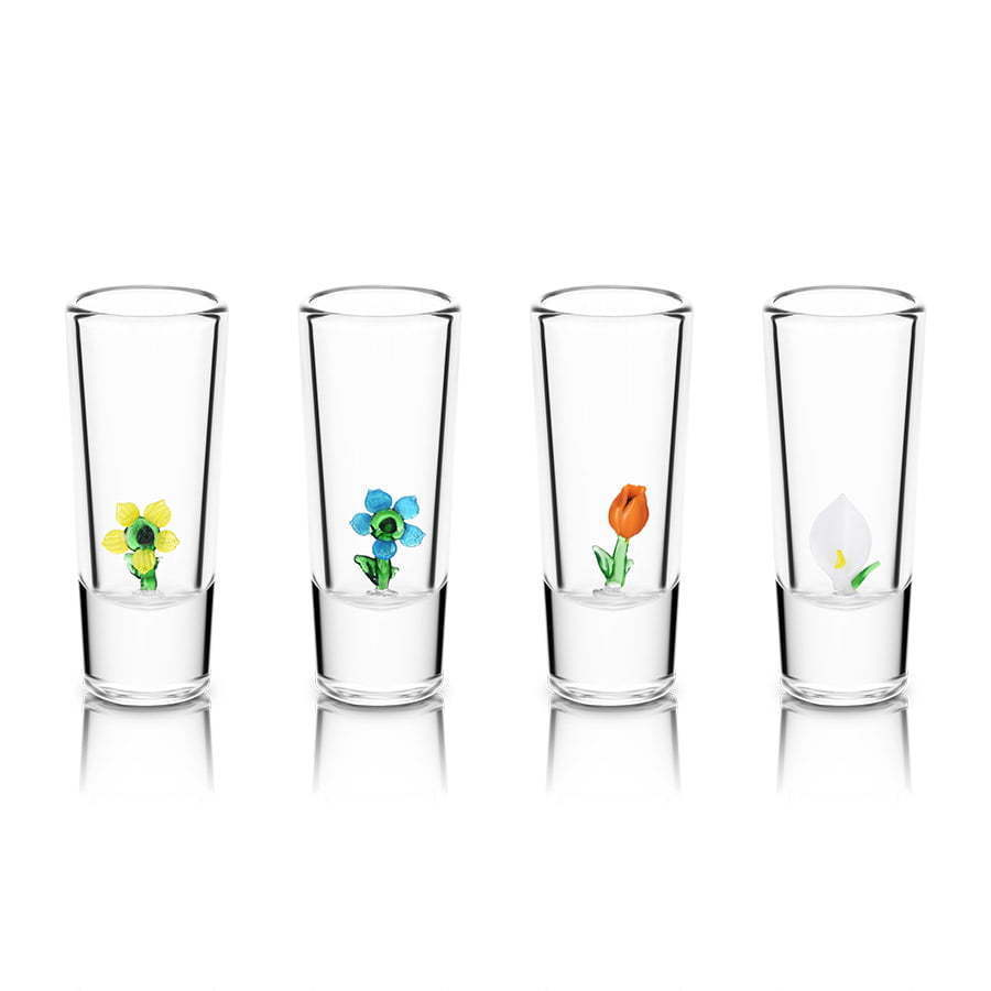 group of 4 double shot glasses with glass flower figures photography