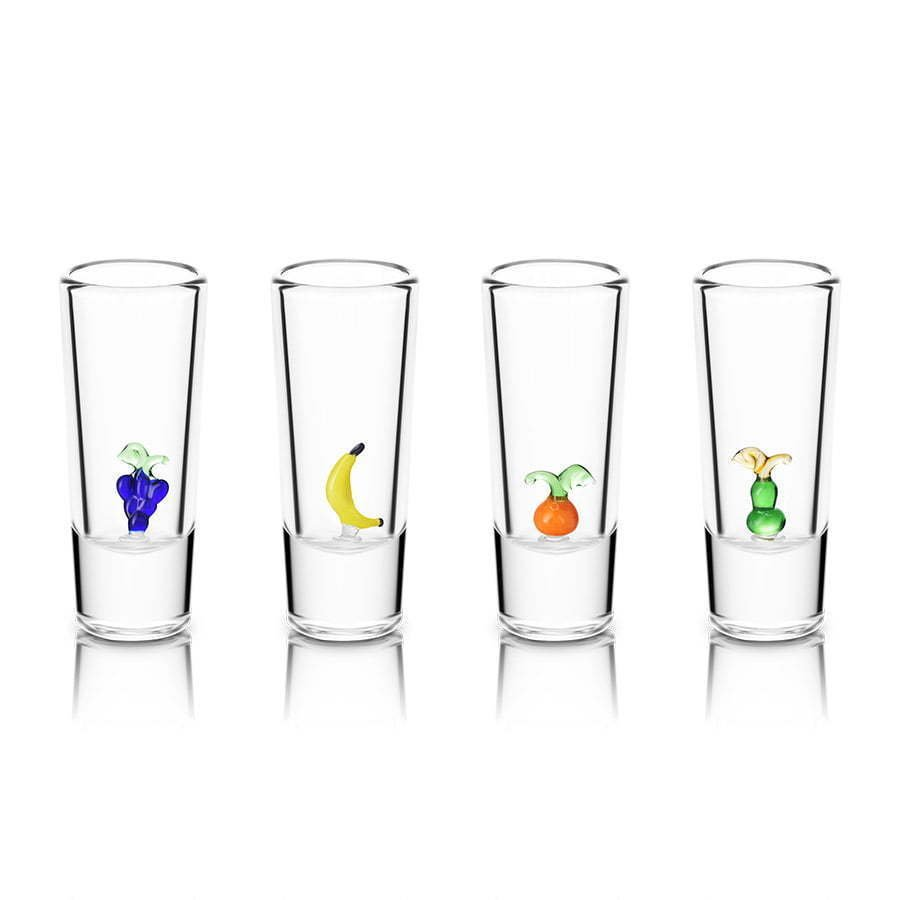 group of 4 double shot glasses with glass fruit figures photography