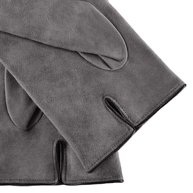a pair of grey gray leather gloves apparel detail photography