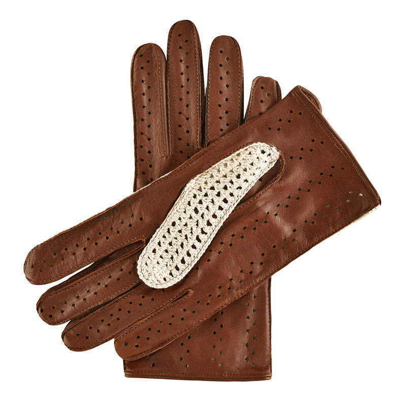 a pair of brown leather gloves with crochet top  apparel photography