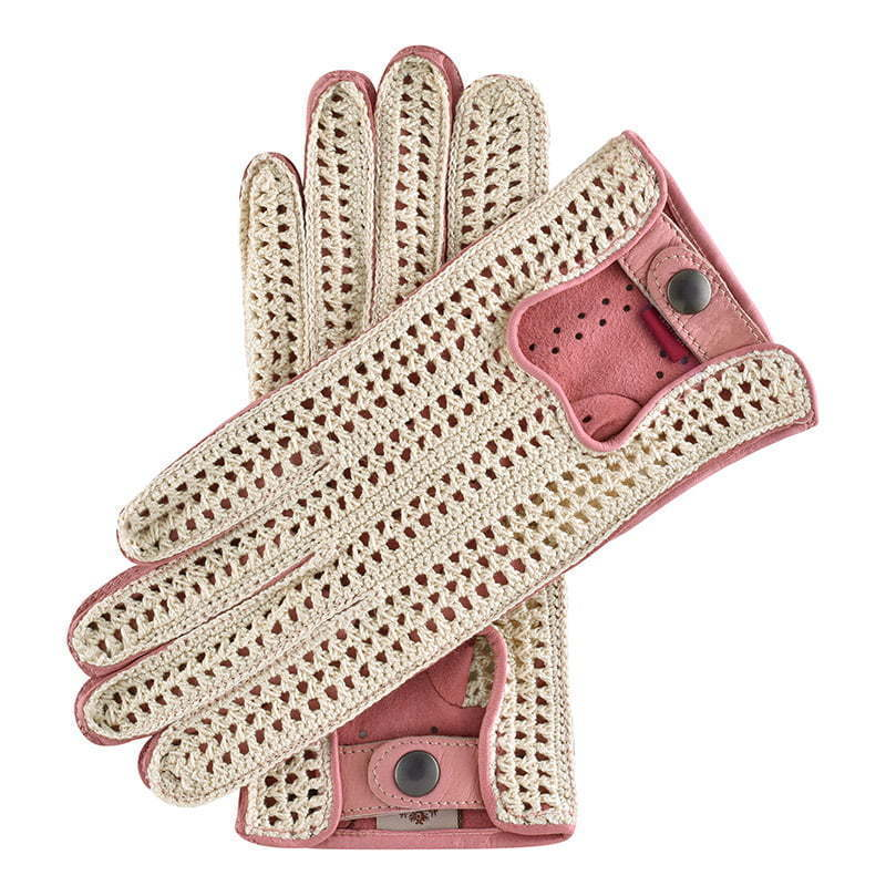 a pair of pink leather gloves with crochet top  apparel photography