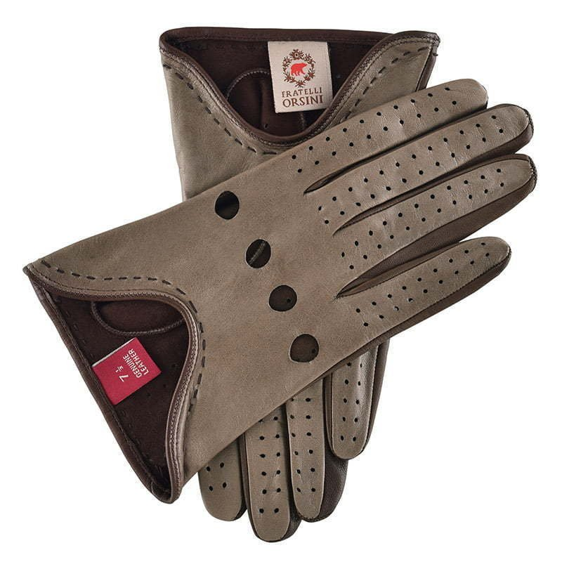 a pair of taupe leather gloves with ventilation holes apparel photography