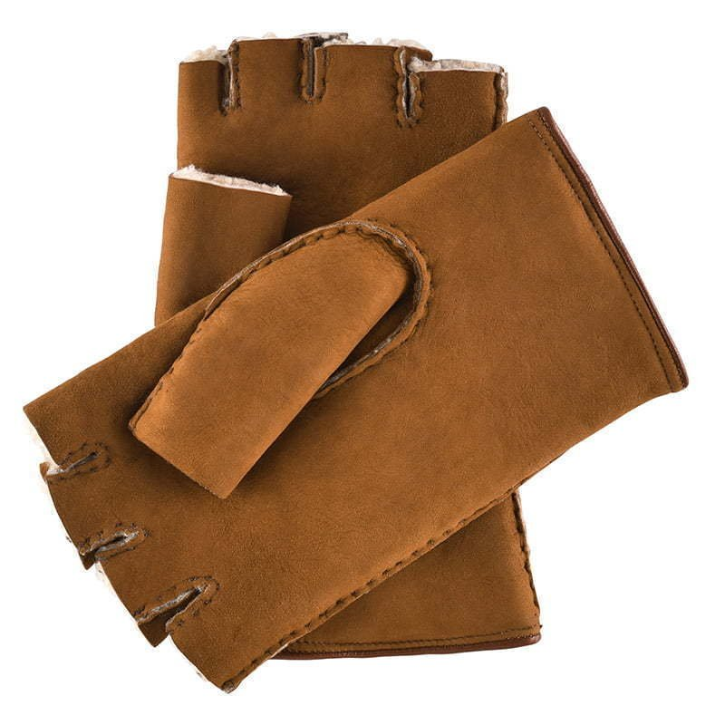 brown leather finger less gloves with wool inside and metal grommets apparel  photography
