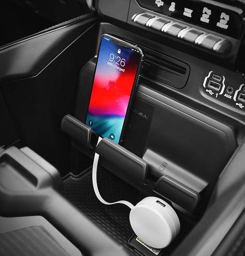 phone plugged into a car with charger lifestyle photography