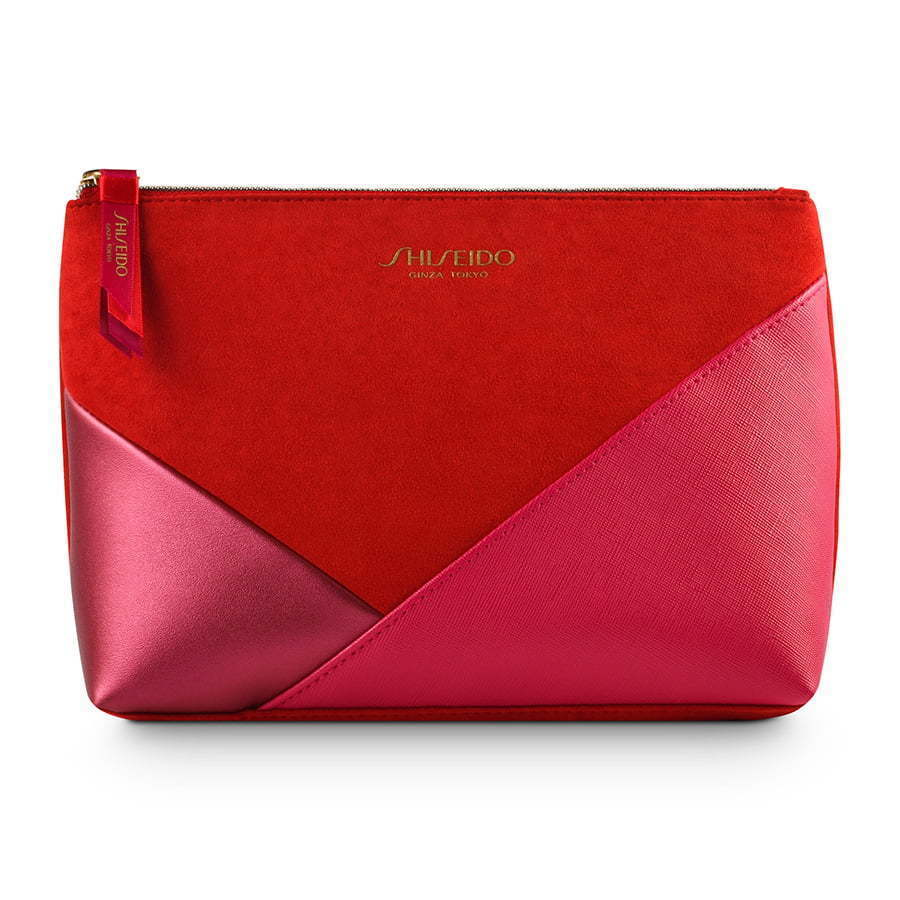 red small color blocked makeup bag photography