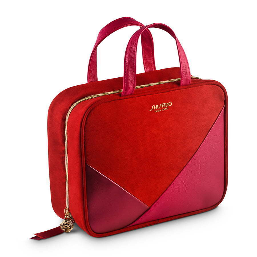 red large color blocked makeup bag photography