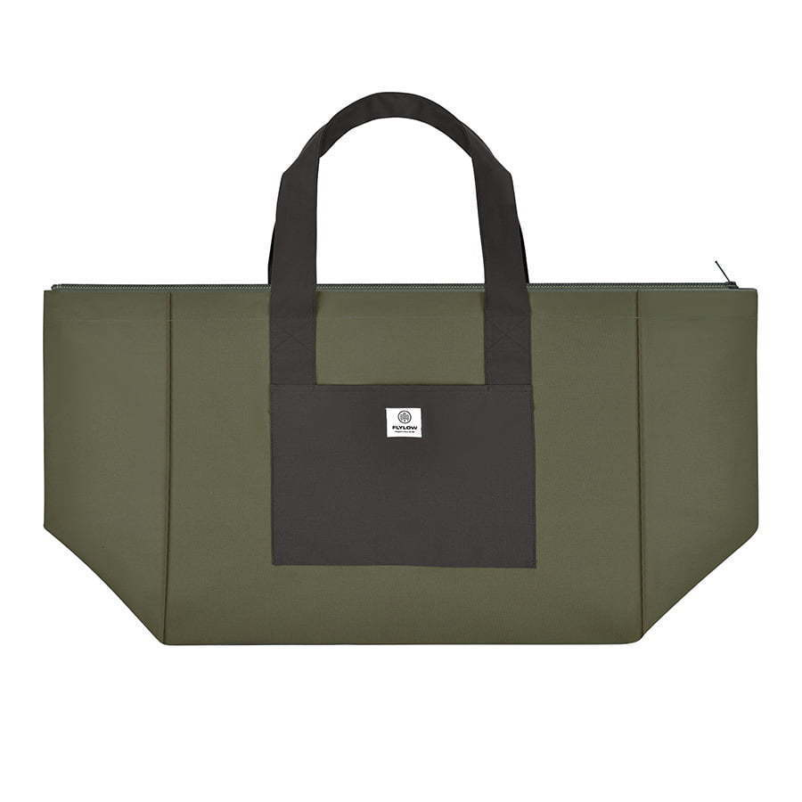 large two tone green tote bag flat lay photography