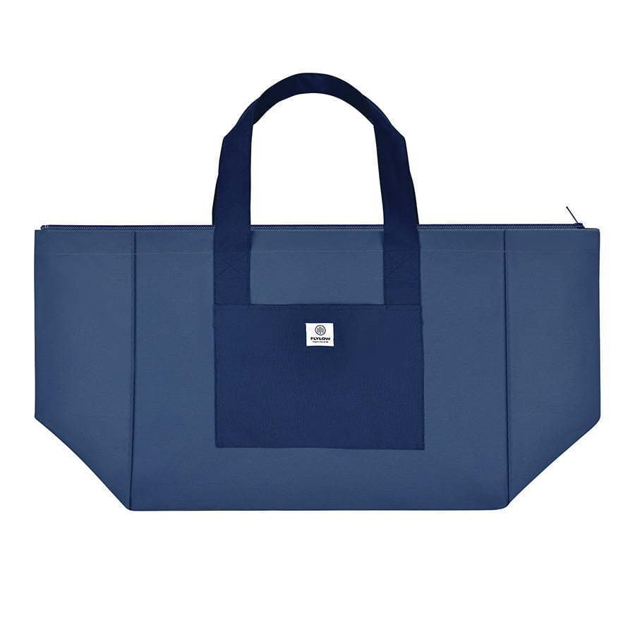 large two tone blue tote bag flat lay photography