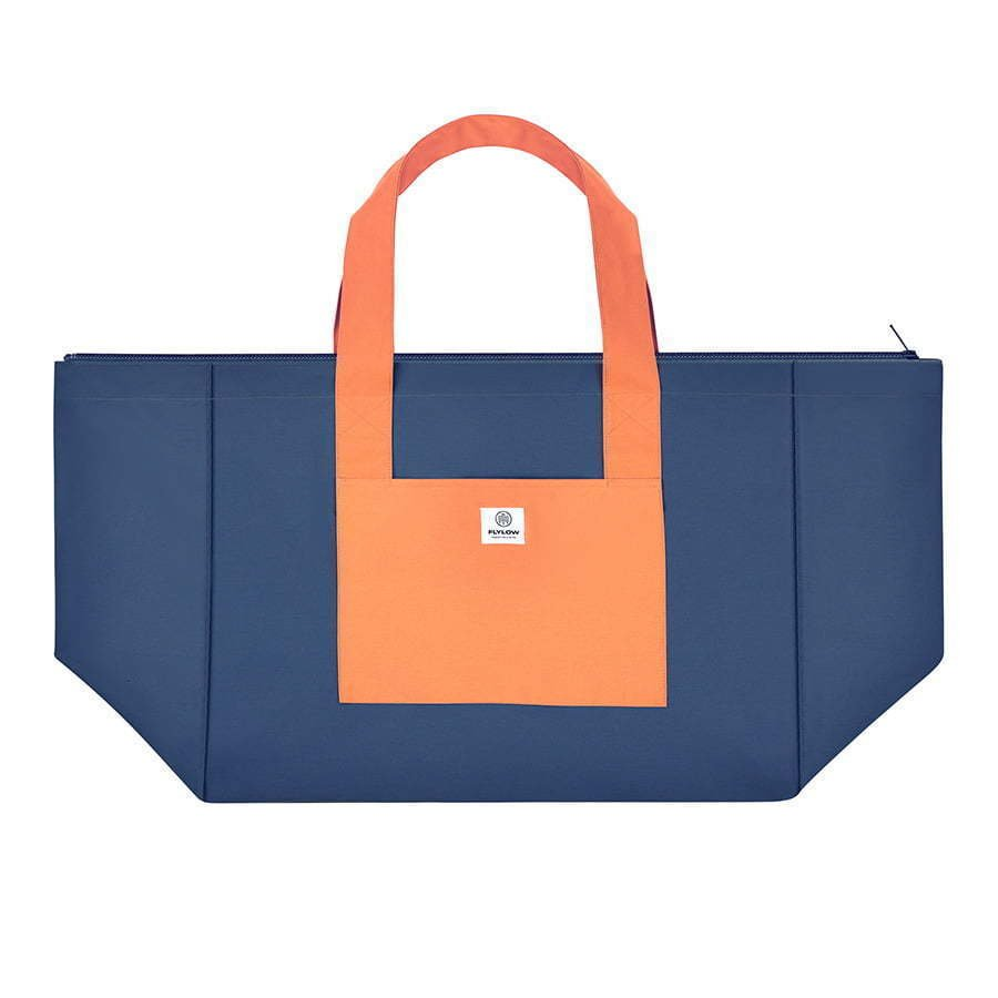 large two tone blue and orange tote bag flat lay photography