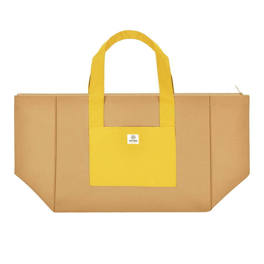 large two tone yellow tote bag flat lay photography