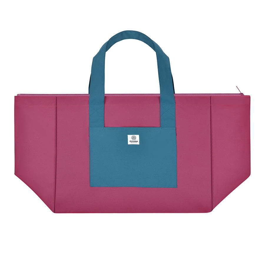 large two tone teal blue and magenta tote bag flat lay photography