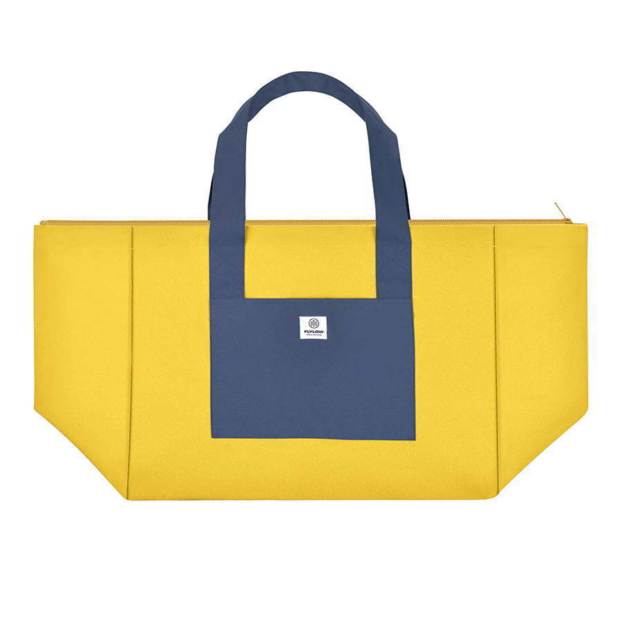 large two tone blue and yellow tote bag flat lay photography