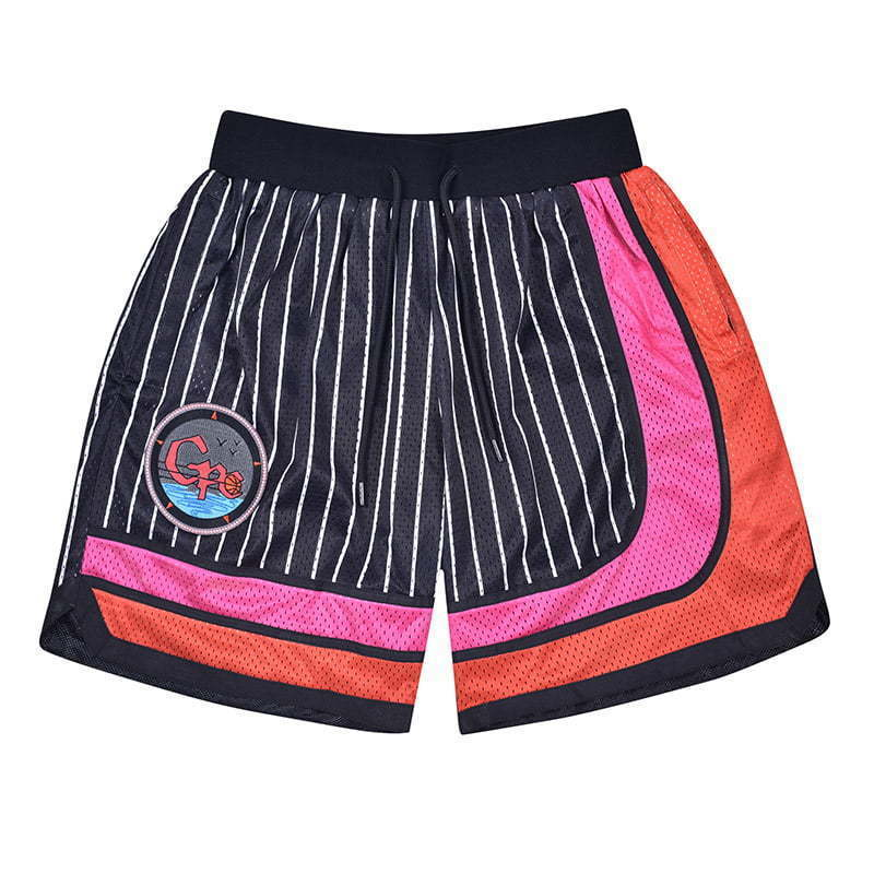 black striped basketball shorts with a patch lay flat  photography