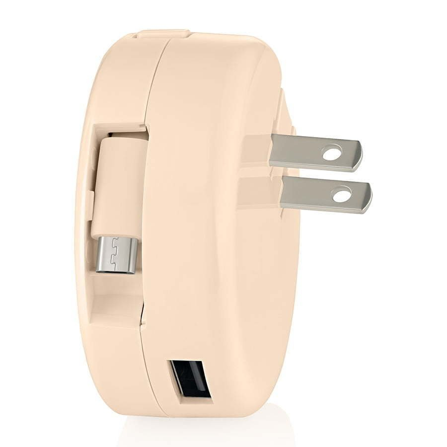 cream retractable wall charging plug for phone