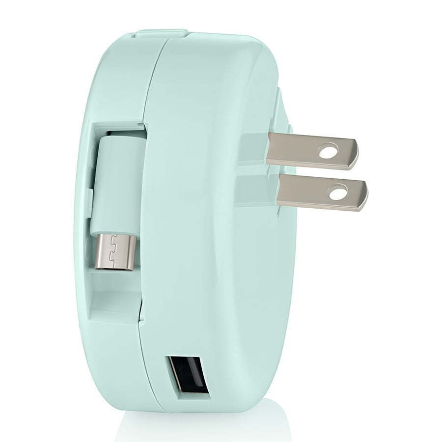 mint blue retractable wall charging plug for phone