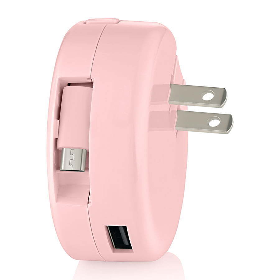 pink retractable wall charging plug for phone